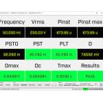 Значения параметров фликера в режиме реал. вр. по МЭК61000-3-3/12